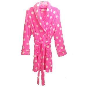 Sonoma Pink Polka Dot Faux Fur Robe Size S